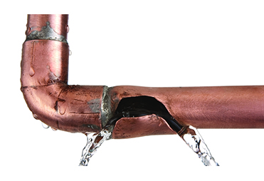 Image of burst copper water line